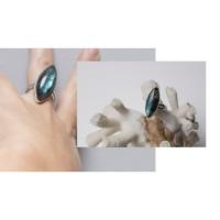 Anillo plata labradorita Azul